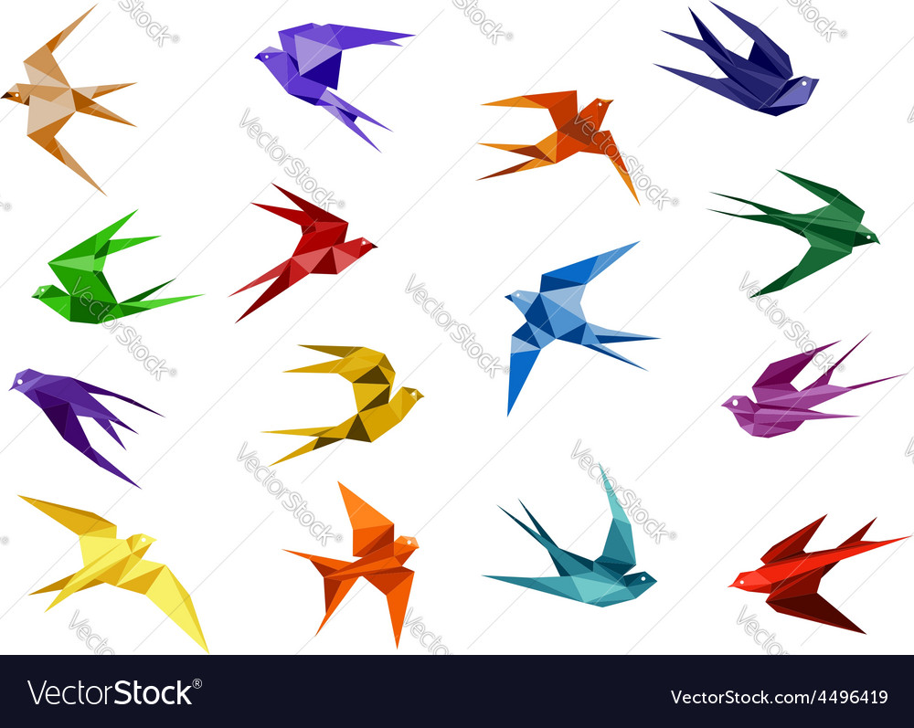 Colorful origami paper swallow birds vector