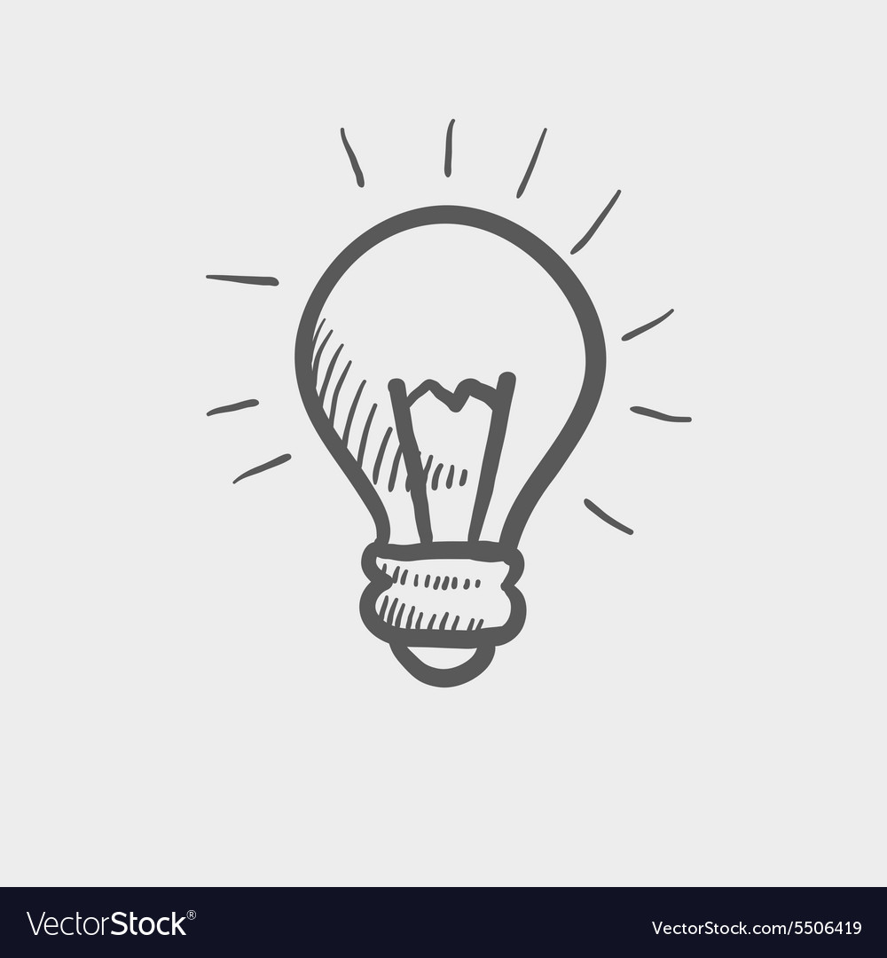 Light bulb sketch icon vector