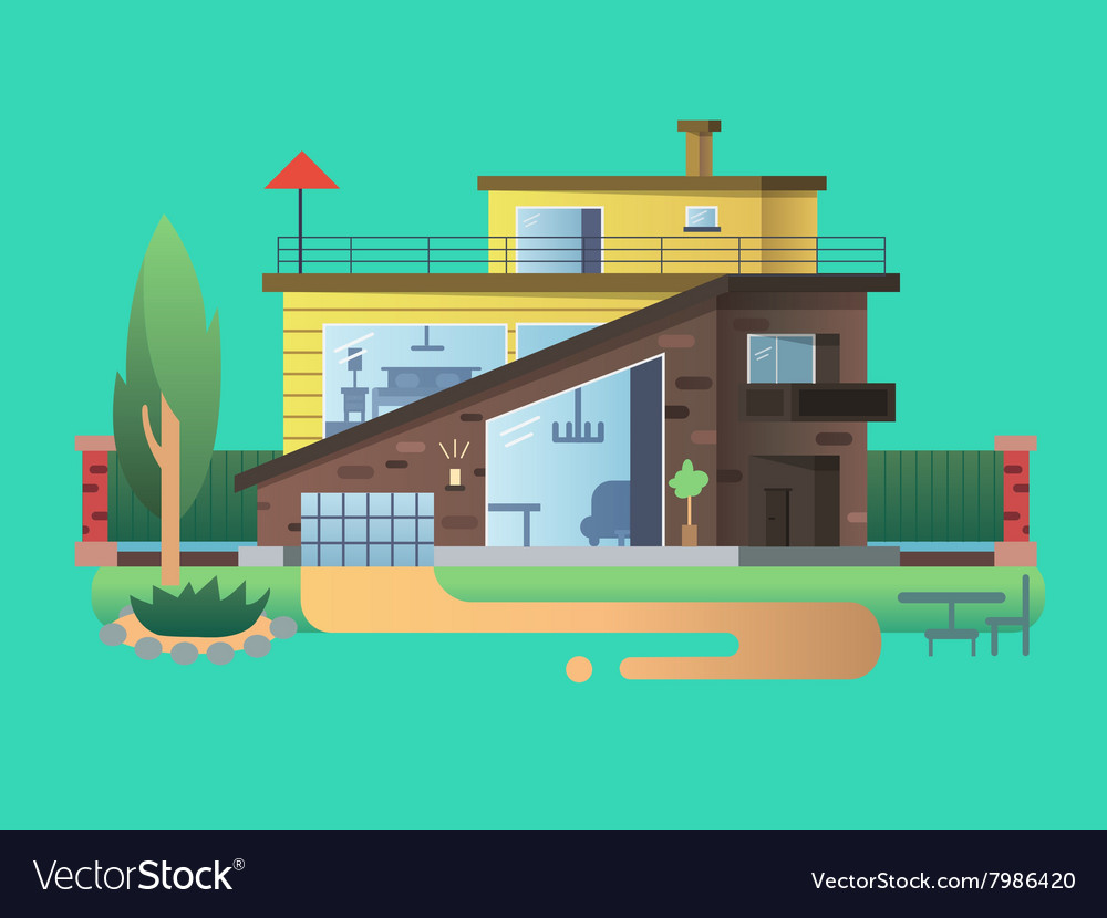 Modern country house vector