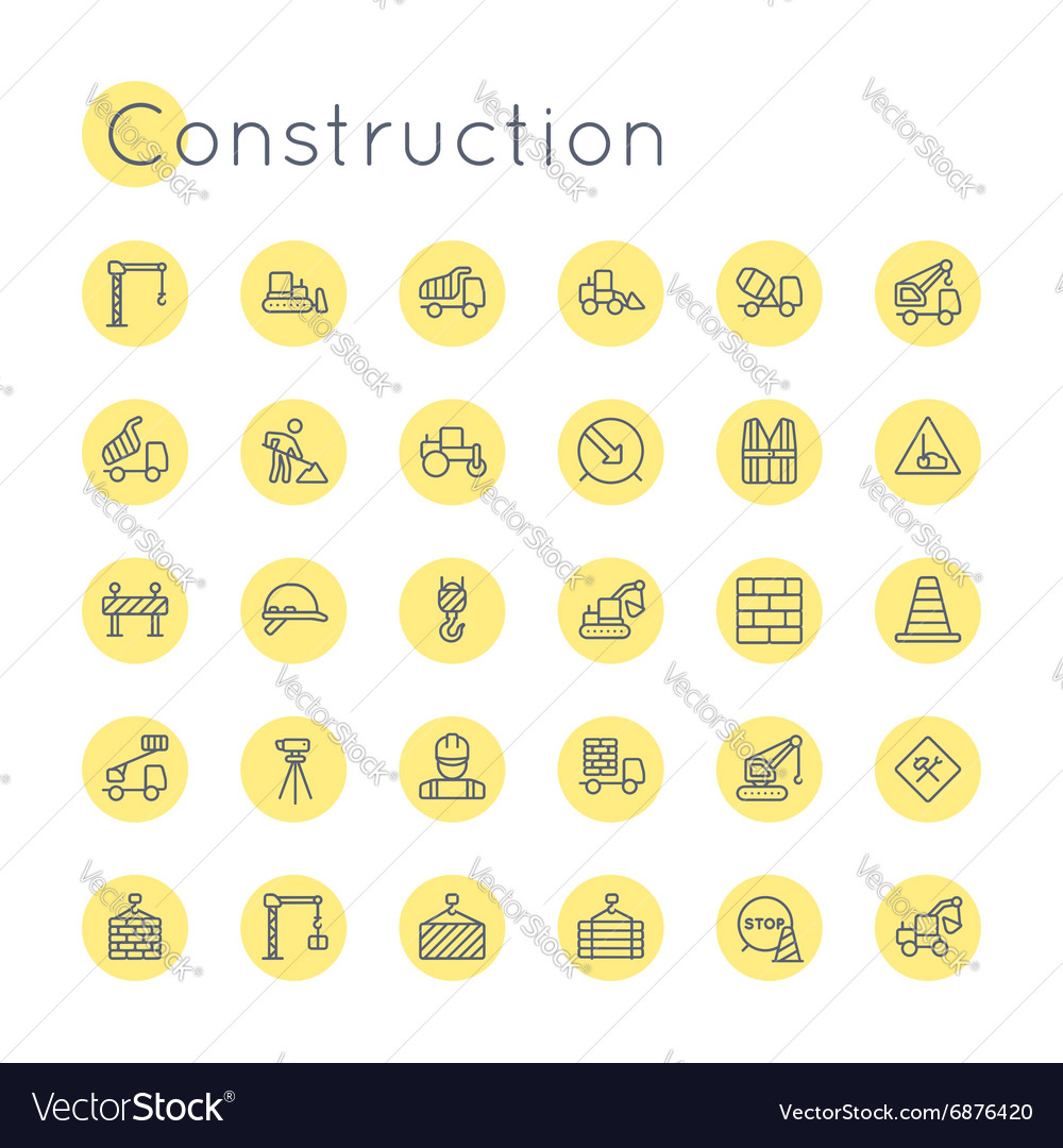 Round construction icons vector