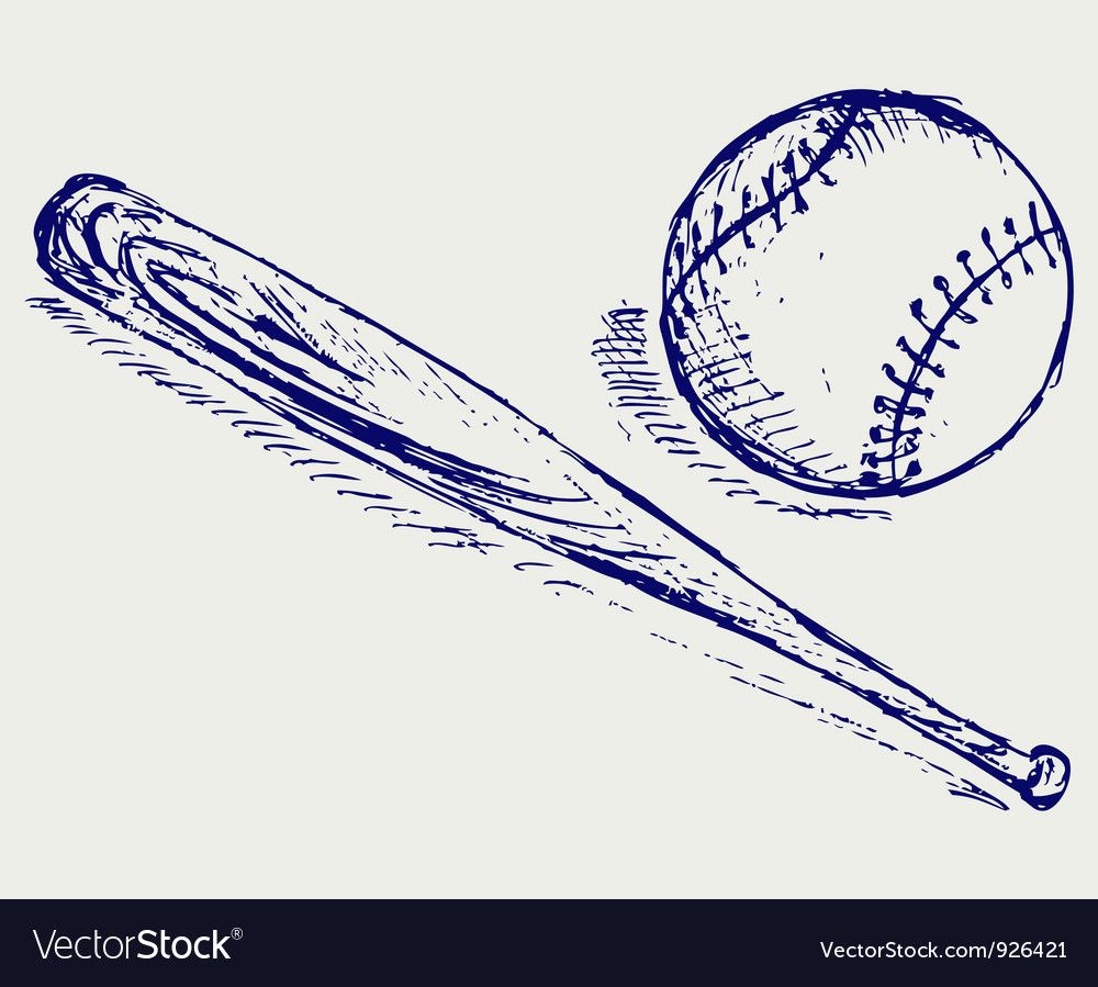 Baseball and bat vector