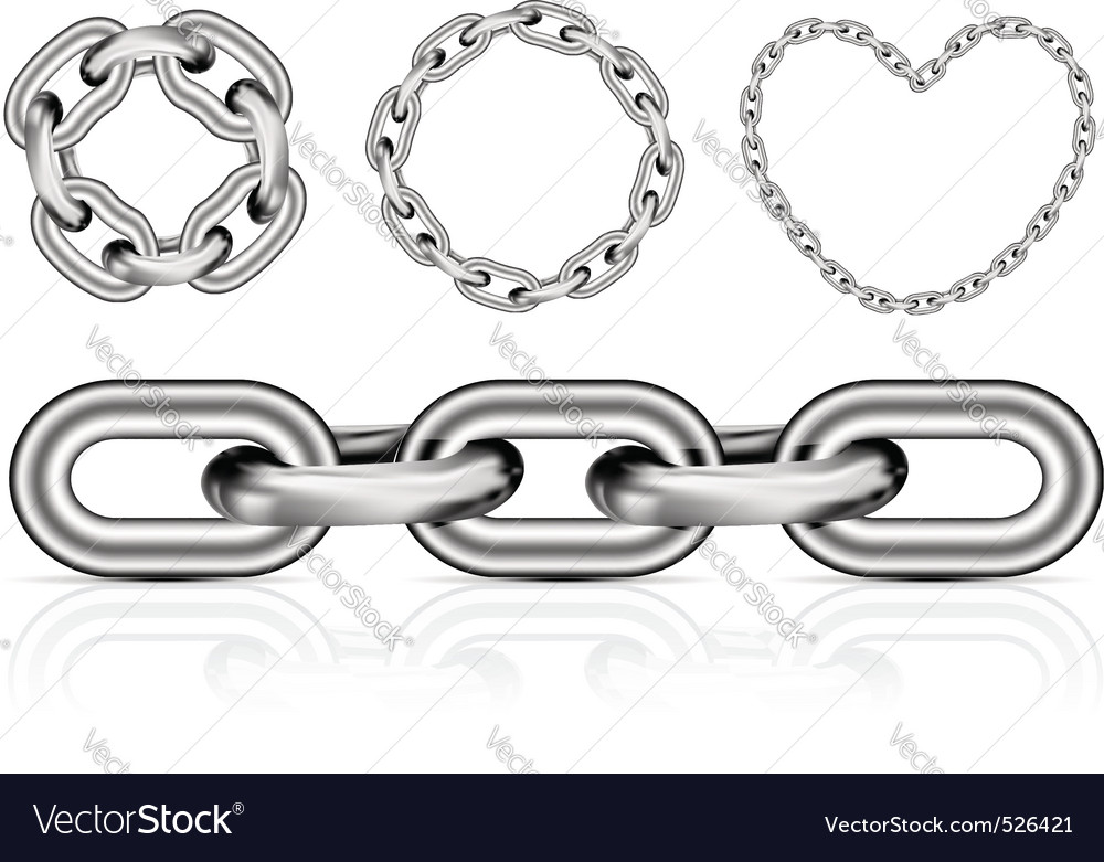 Collection of metal chain parts vector