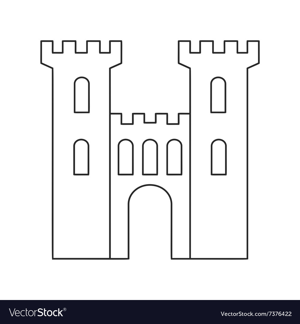 An old medieval stone gate thin line icon vector