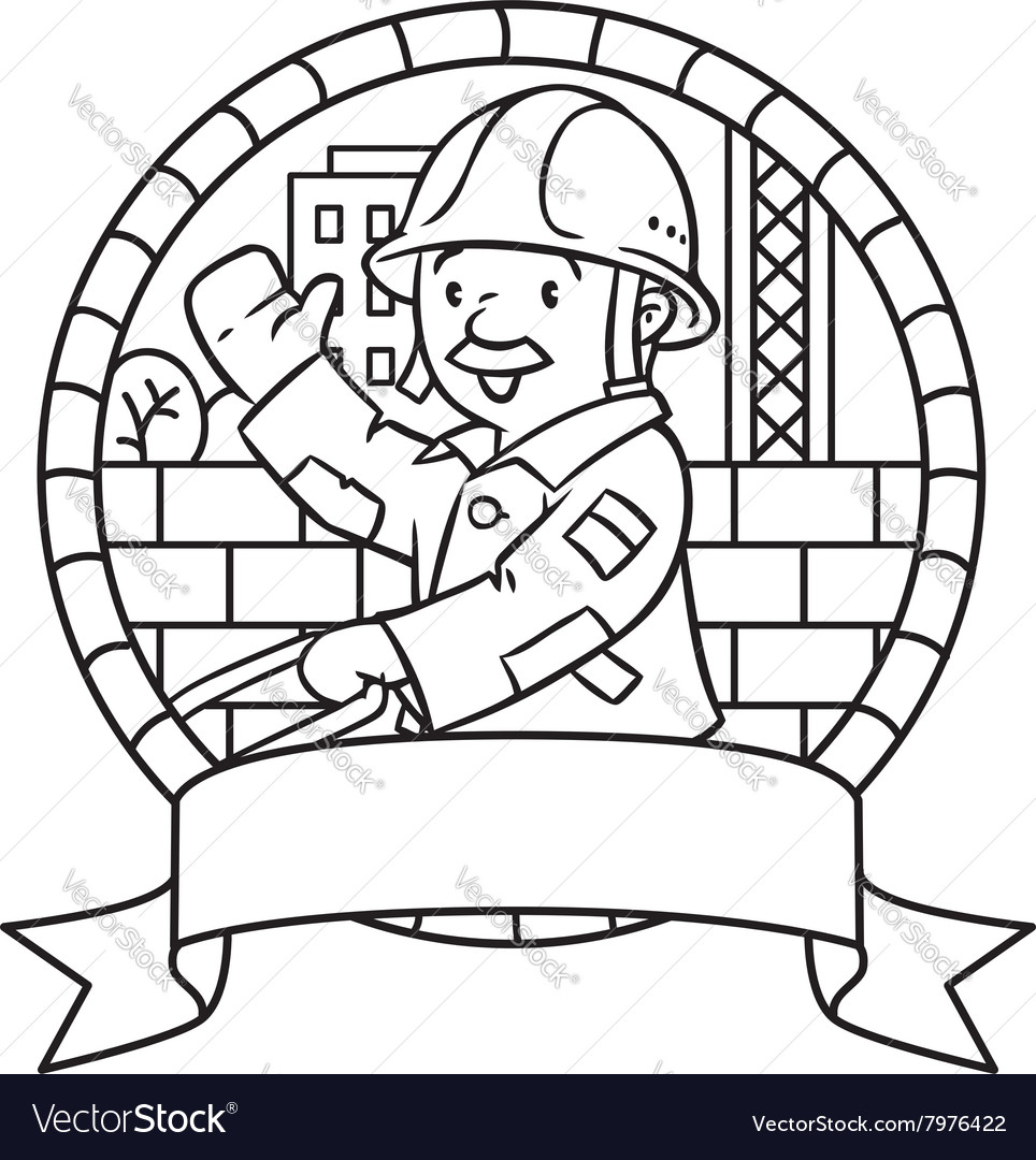 Coloring book or emblem of funny worker with cart vector