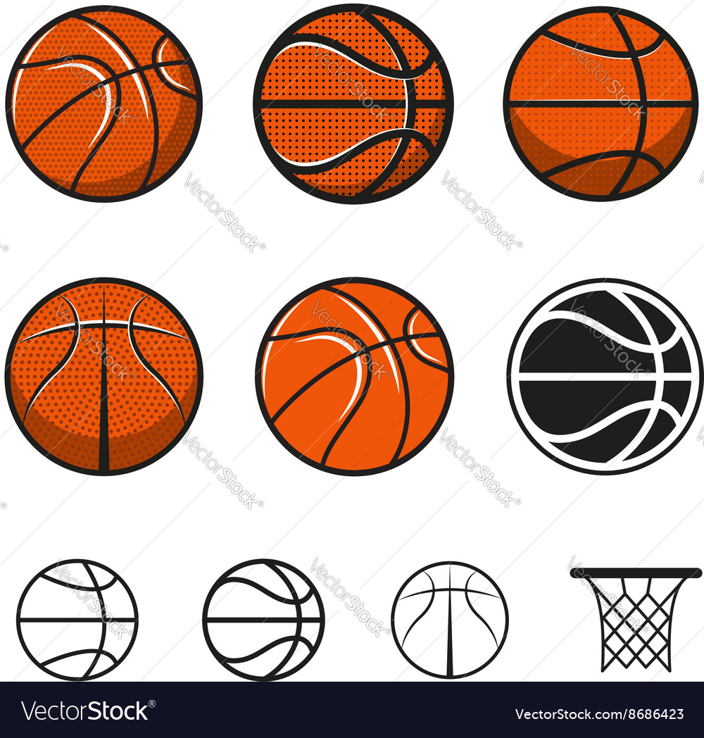 Set of basketball balls vector