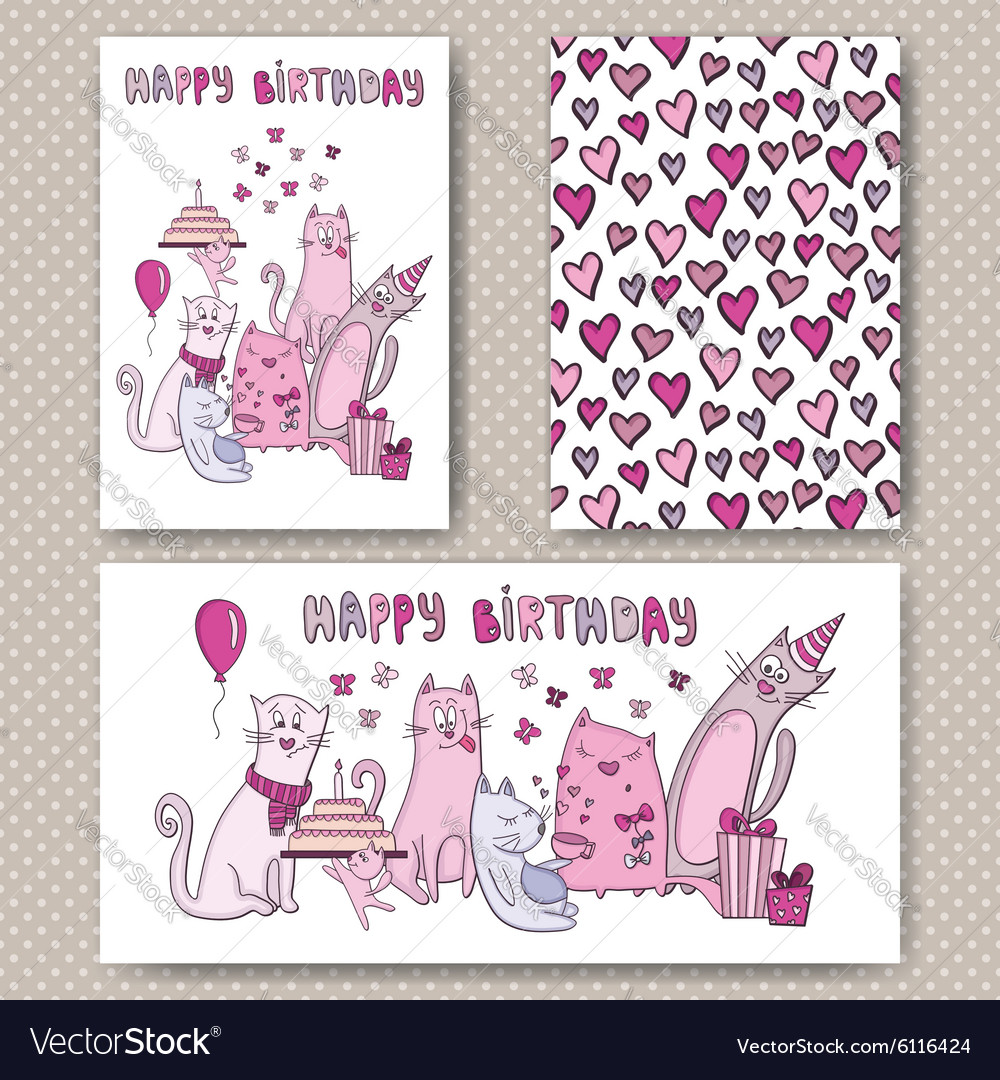 Birthday cards design with funny cats vector