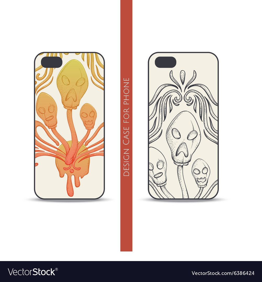 Design case for phone abstract mushroom three vector