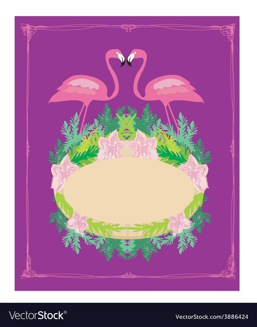 Vintage frame  green palms and pink flamingo vector