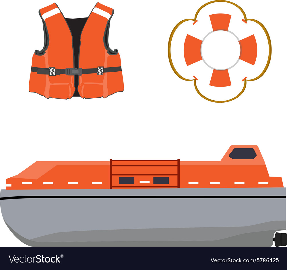 Life boat jacket and buoy vector