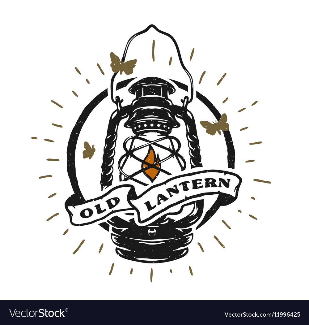 Old kerosene lamp vector