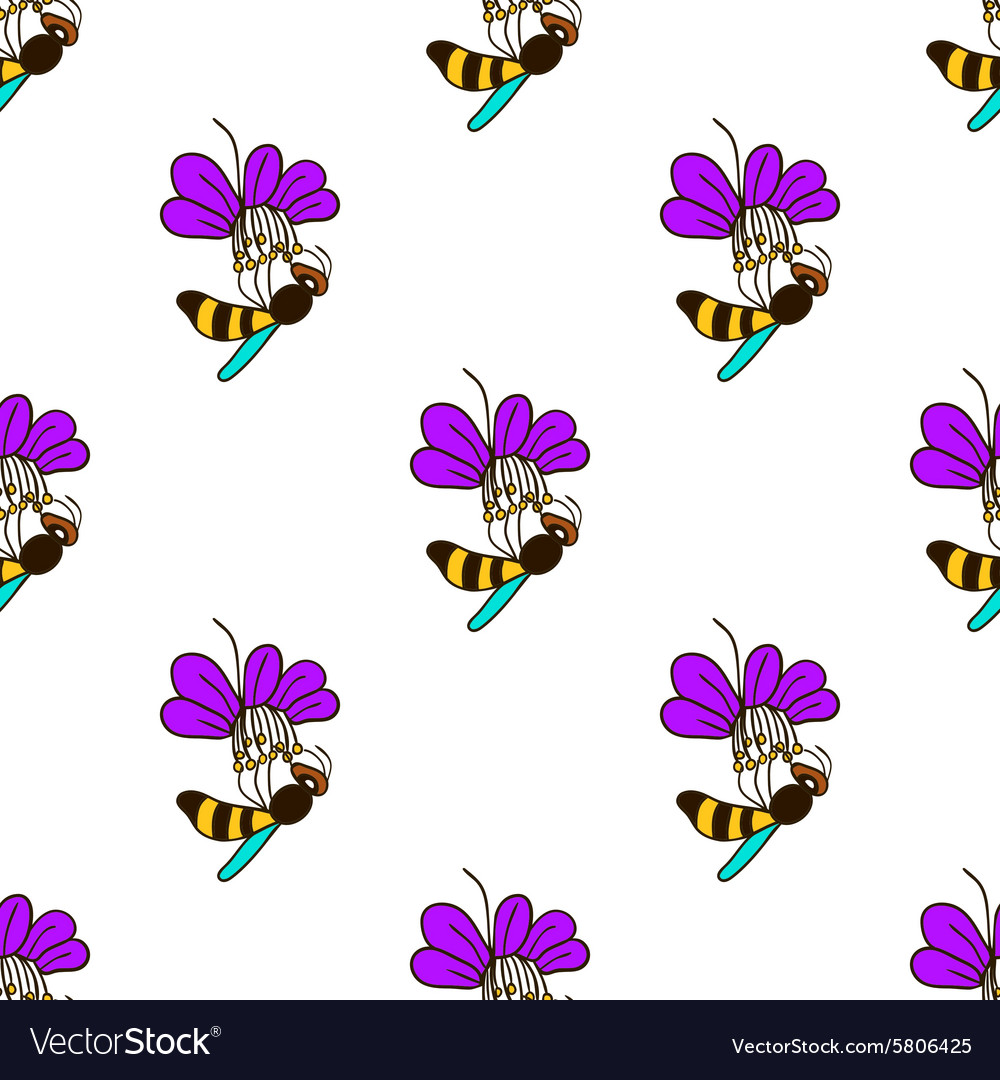 Seamless pattern with bee  5 vector