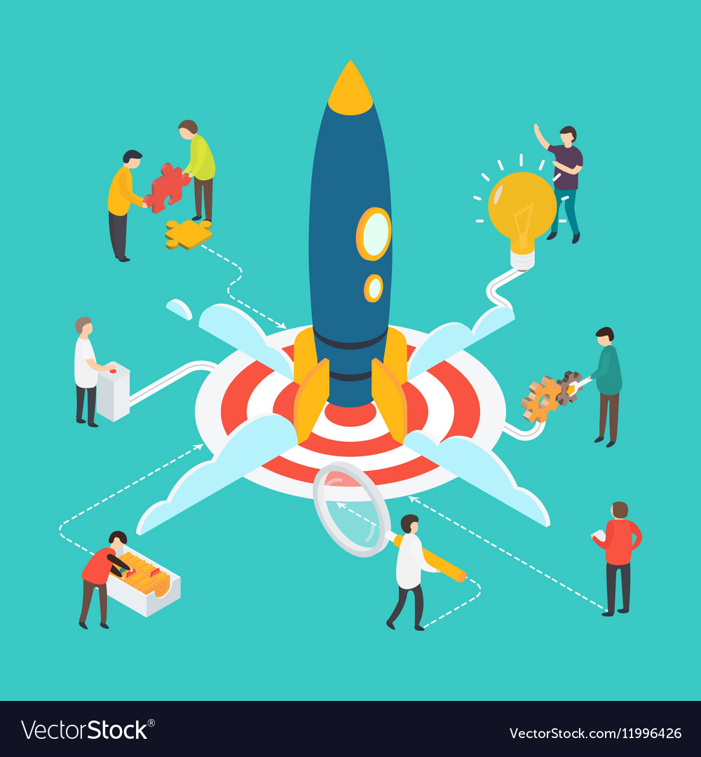 Modern startup concept with people and rocket vector