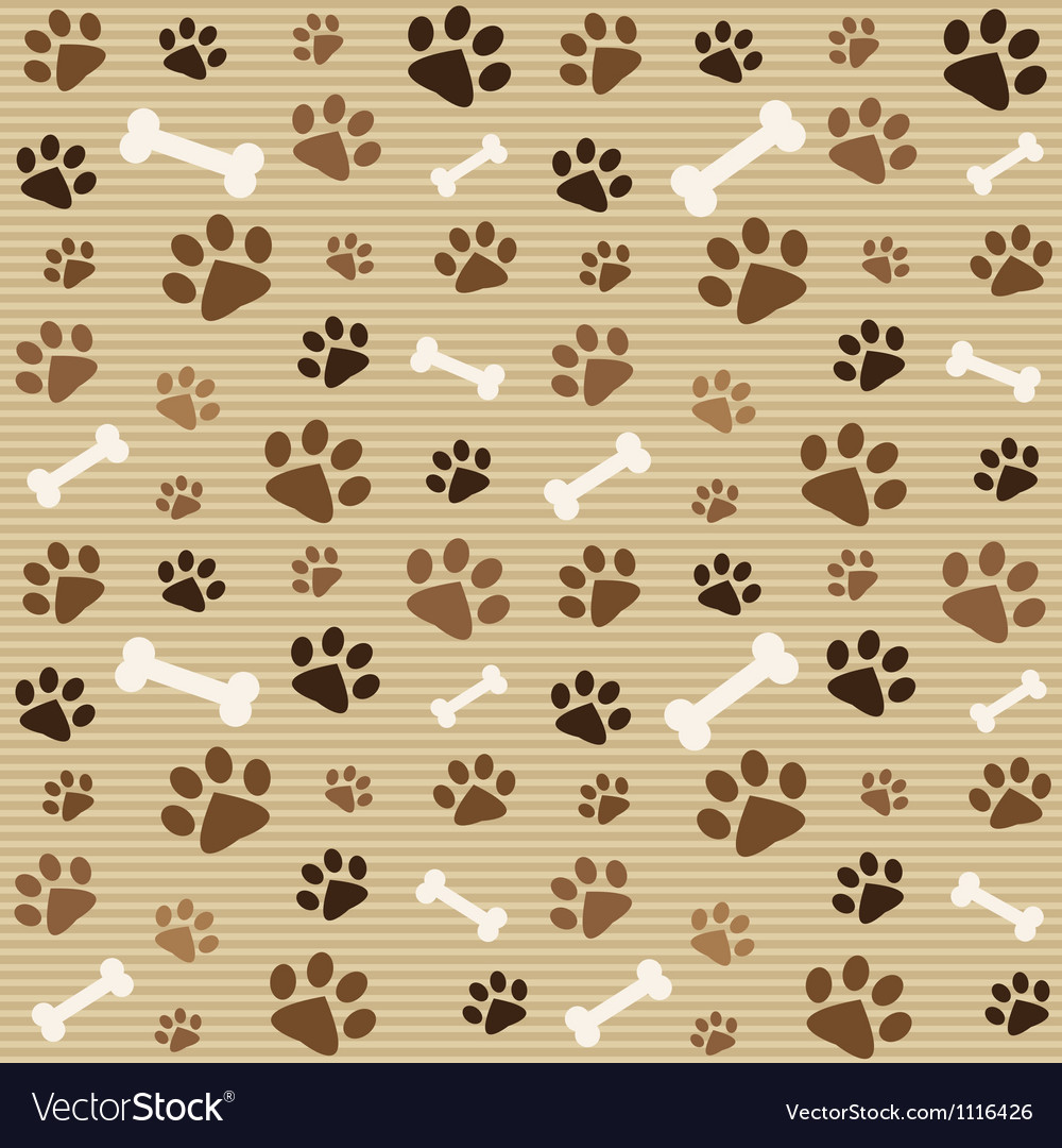 Pattern with brown footprints and bones vector
