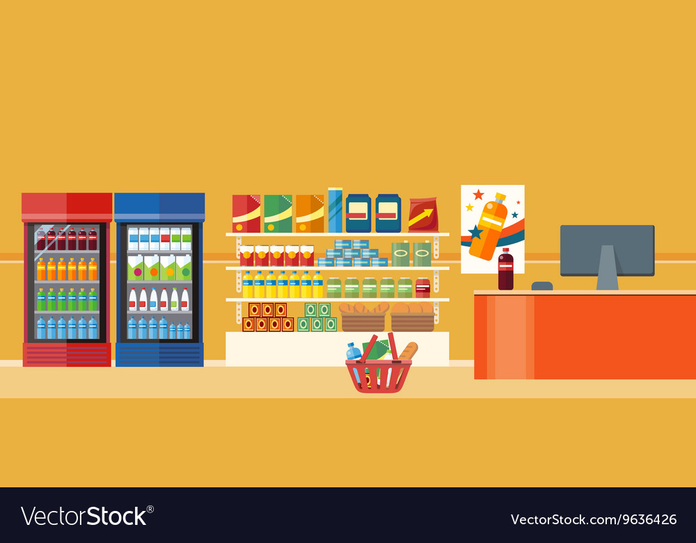 Supermarkets and grocery stores vector