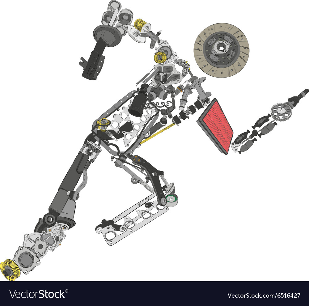 Painted running man of spare parts vector