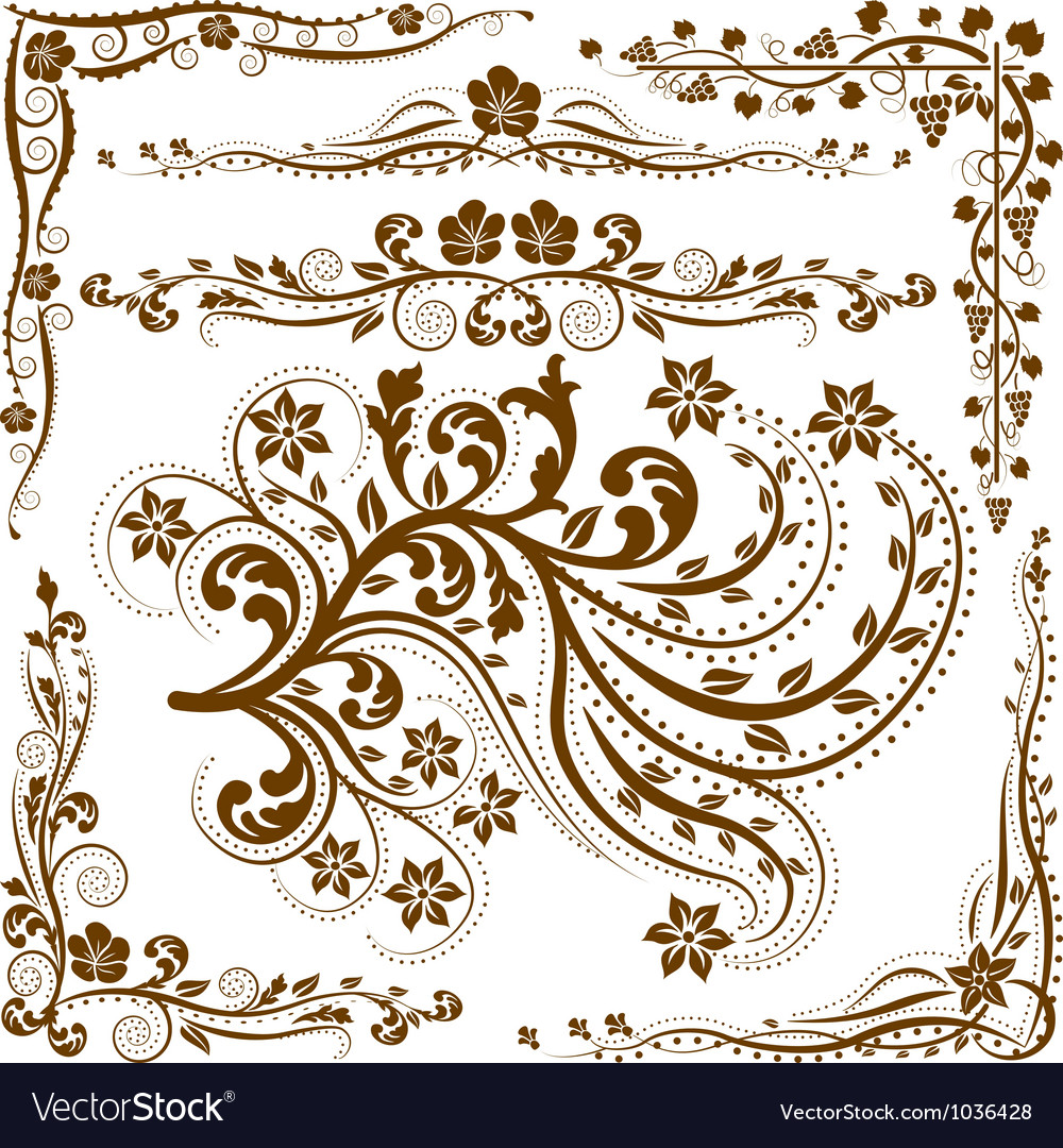 Corners and ornaments vector