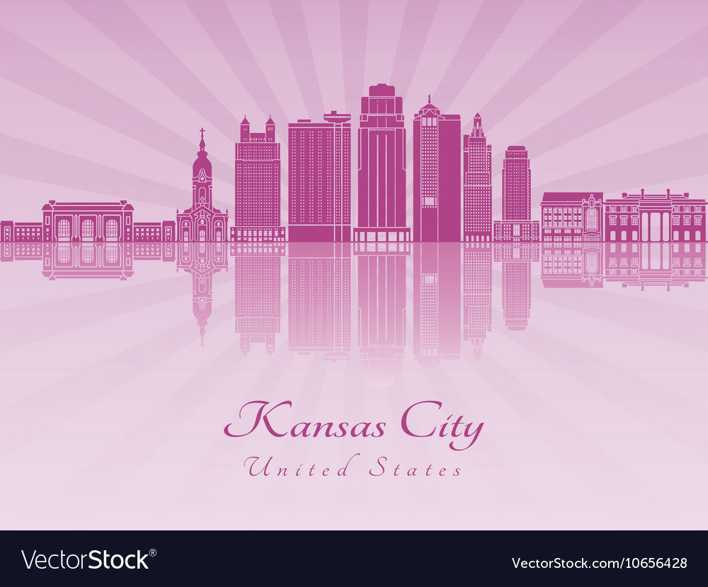 Kansas city v2 skyline in purple radiant orchid vector