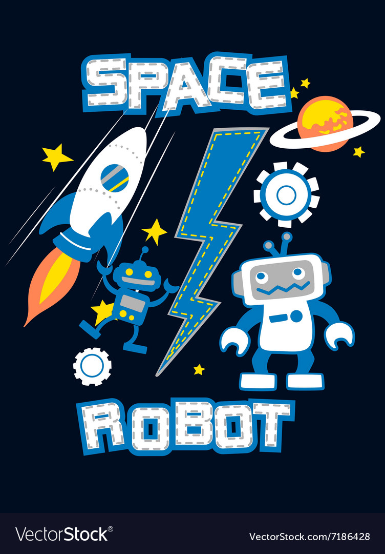 Space robot with rocket planet embroidery vector