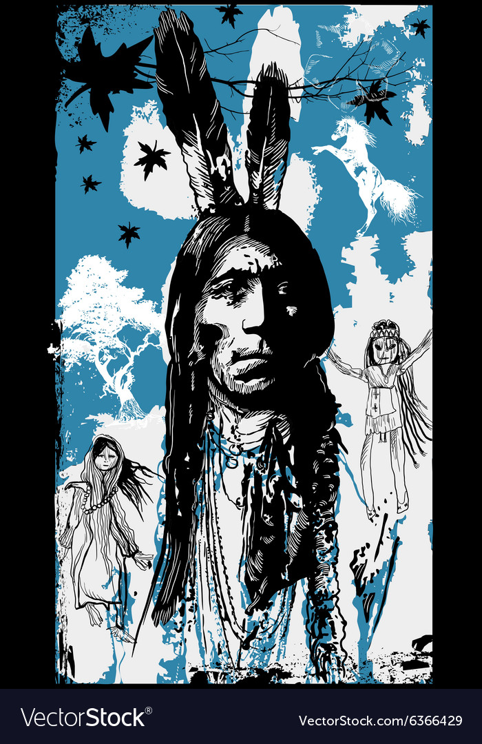 Indian warrior sitting bull portrait  freehand vector