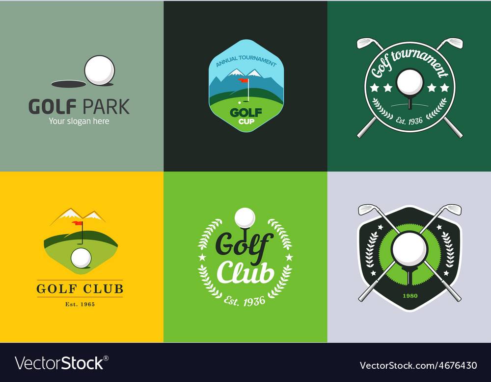 Set of vintage color golf championship logos vector