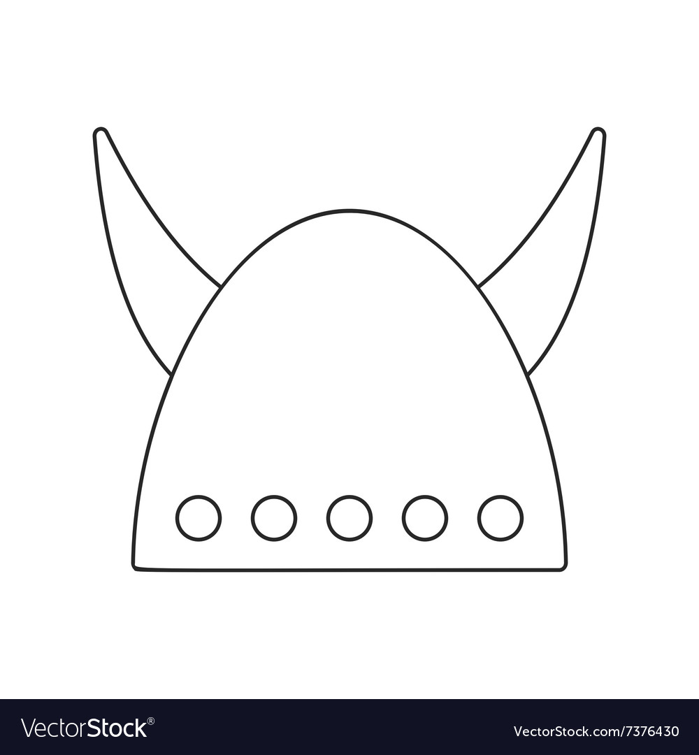 Viking helmet with big horns thin line icon vector