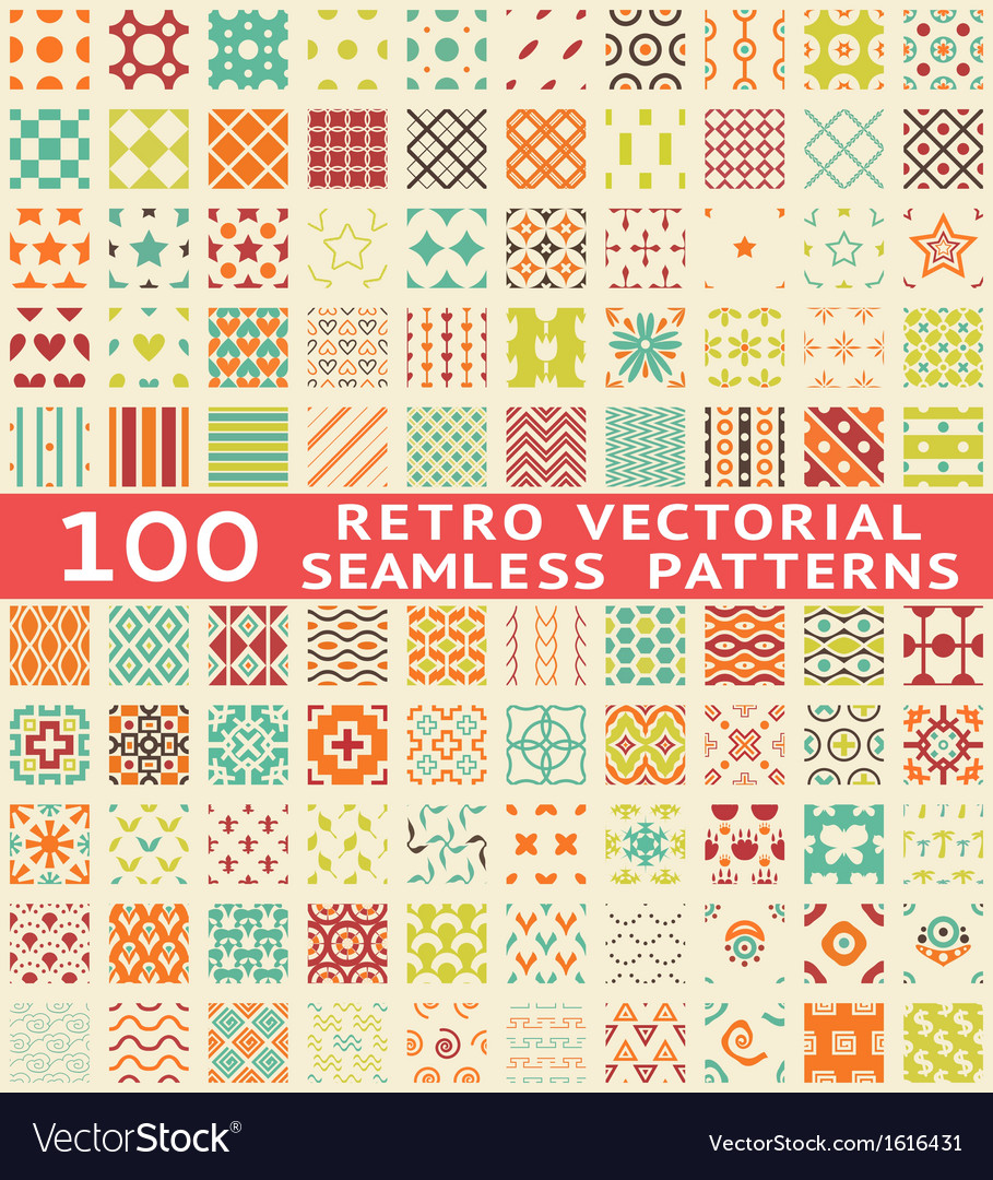 Retro different seamless patterns with swatch vector