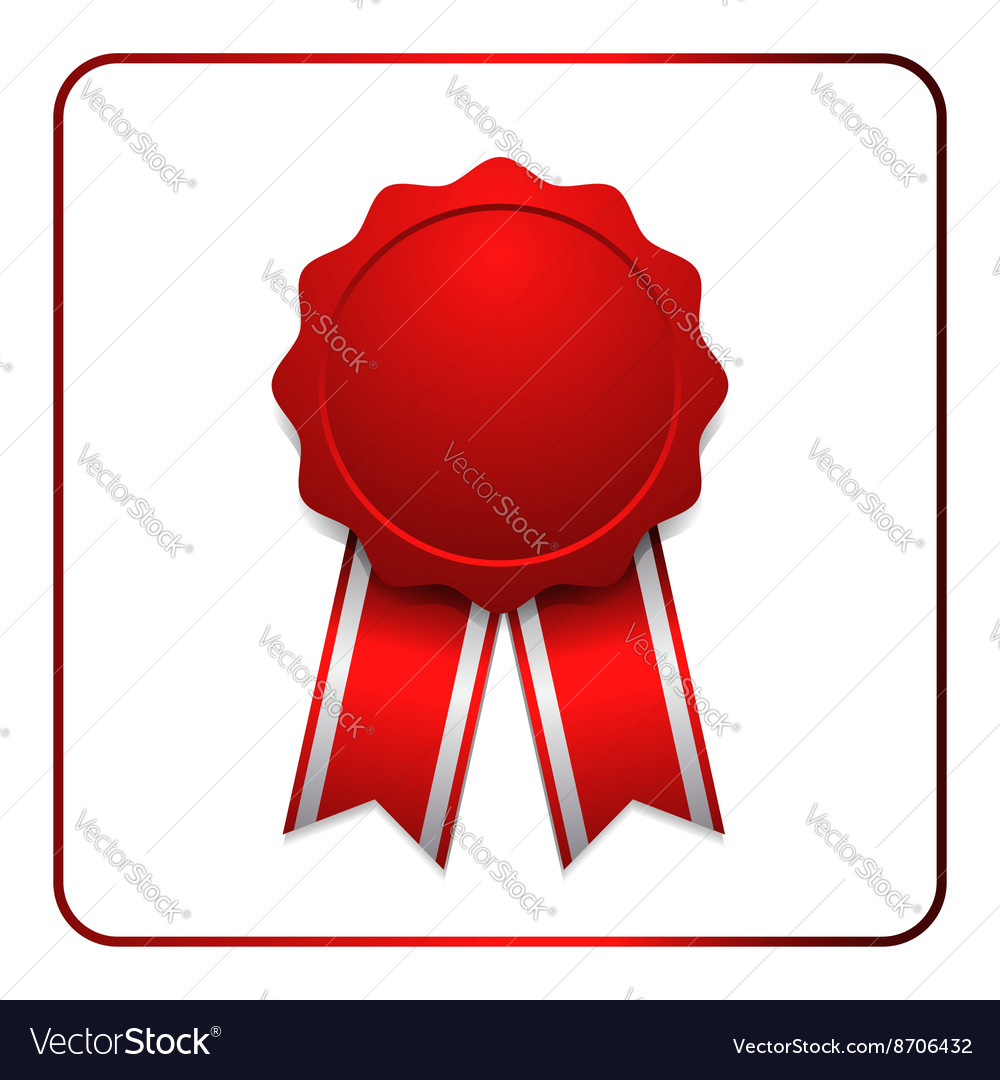 Ribbon award icon red 1 vector