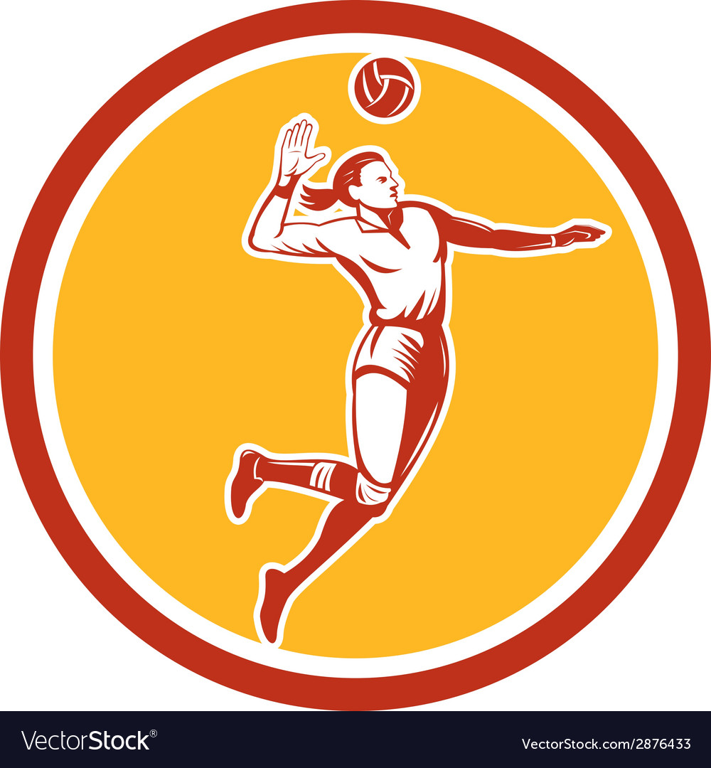 Volleyball player spiking ball circle retro vector