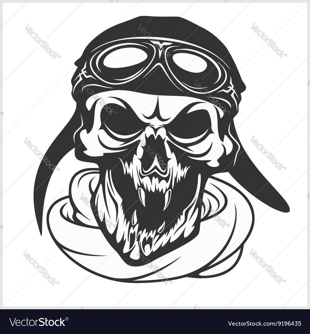 Hell pilot  skull with helmet and glasses vector