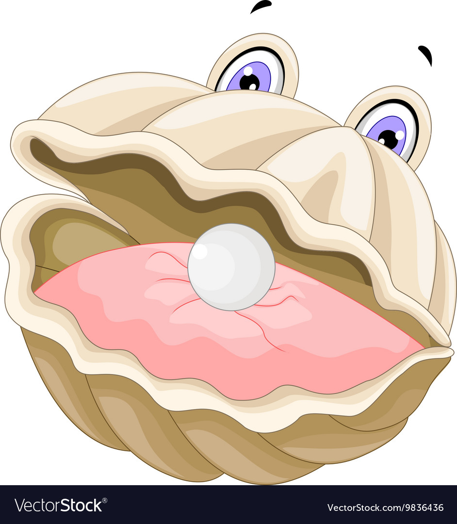 Cute oyster with a pearl cartoon vector