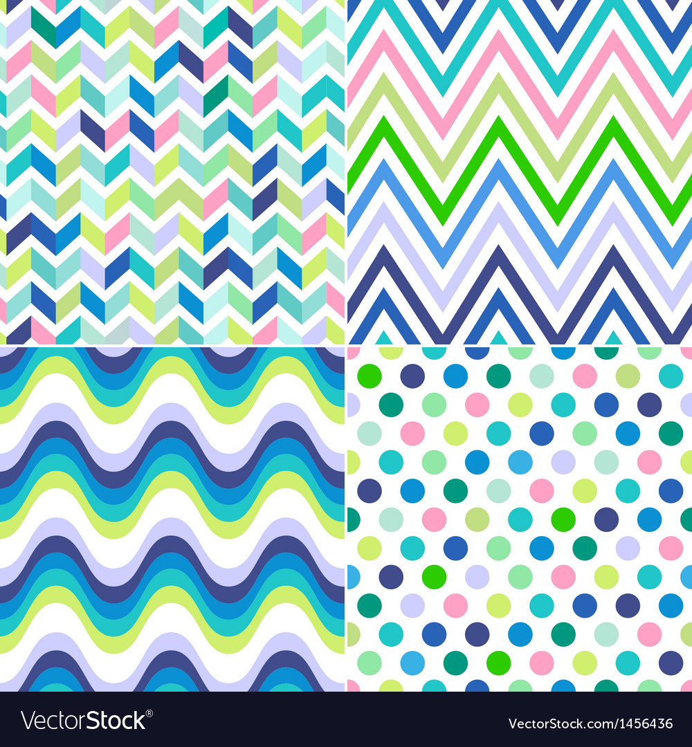 Seamless stripes zig zag and polka background vector