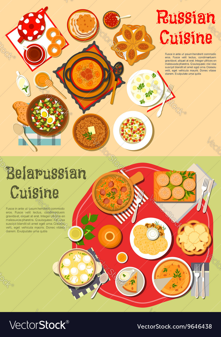 Everyday meals of russian and belarusian cuisine vector