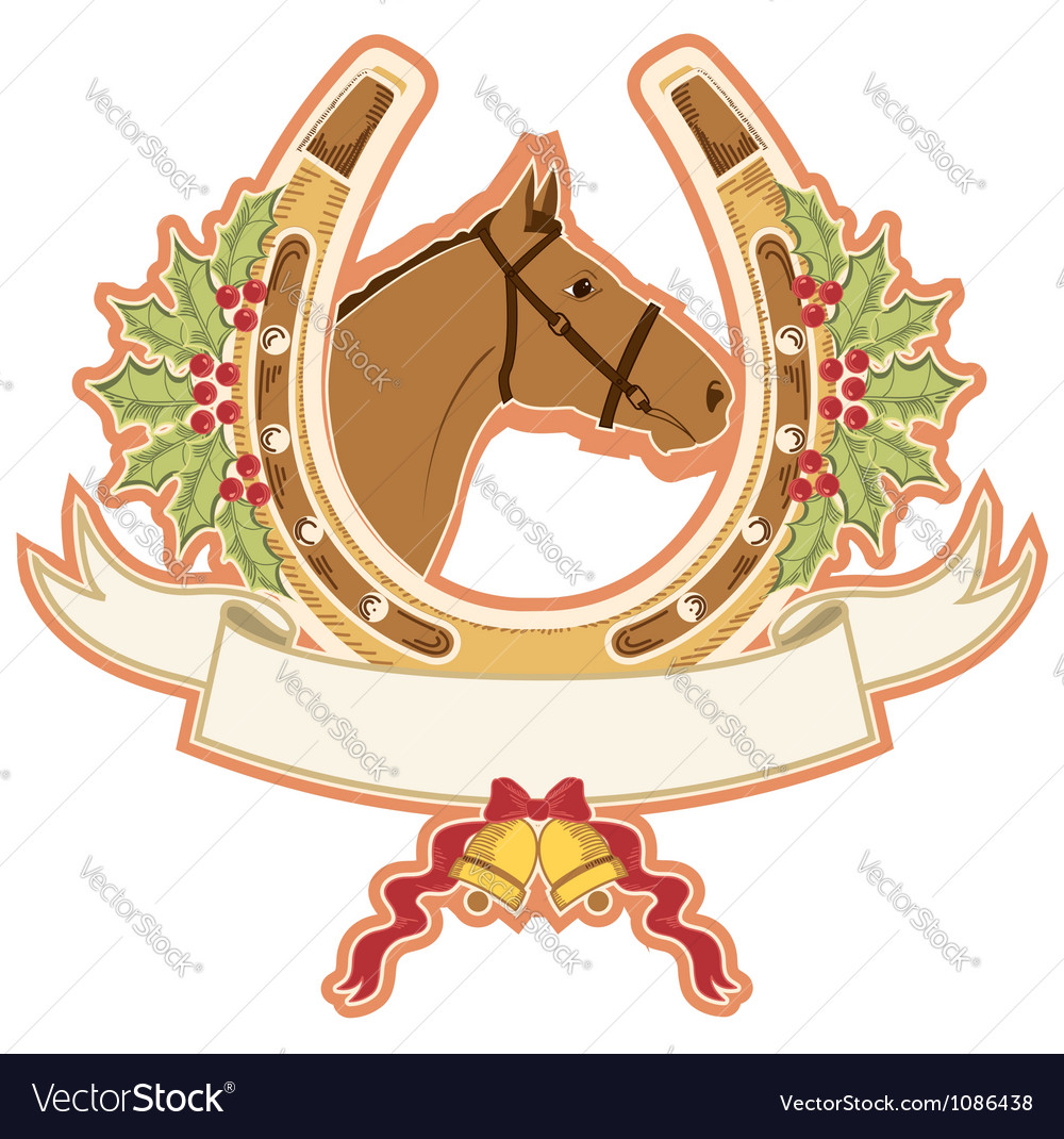 Horse and horseshoe christmas isolated on white vector