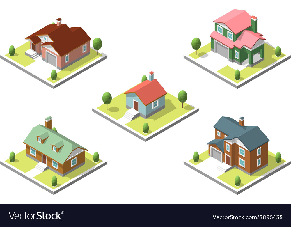 Isometric buildings set flat style vector
