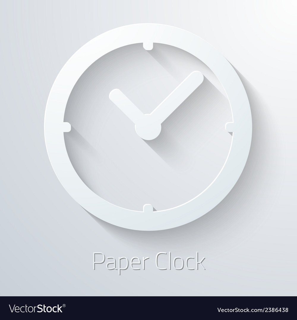 Paper clock watch icon vector