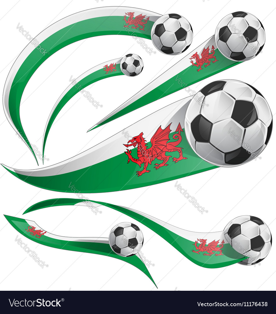 Wales flag set with soccer ball vector