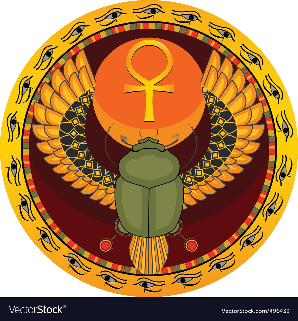 Egyptian sacred bug vector