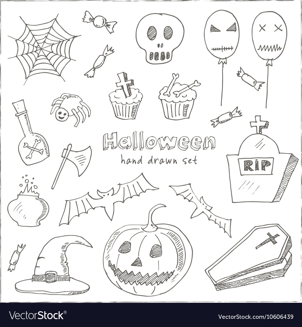 Happy halloween trick or treat doodles hand drawn vector