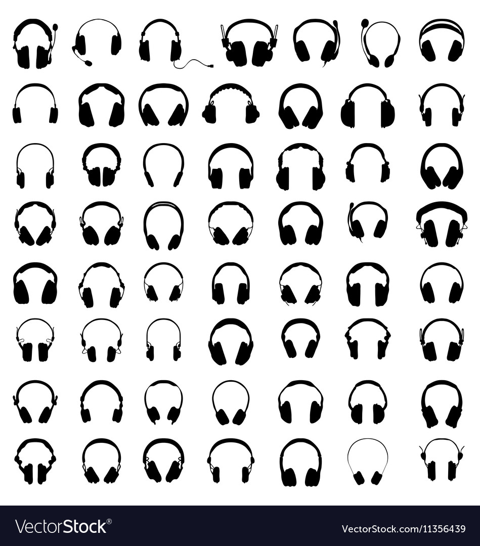 Silhouettes of headphones vector