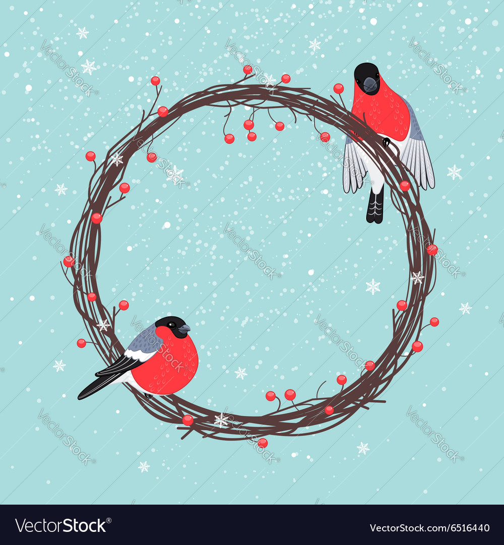 Christmas wreath with bullfinches vector