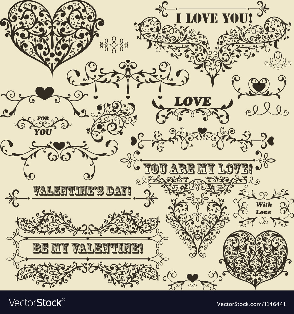 Vintage valentines detailed design vector