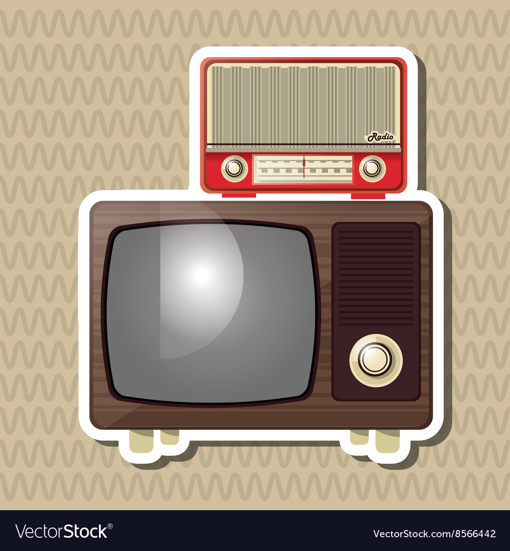 Flat about vintage tv design vector