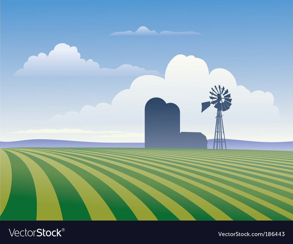 Farm with windmill vector