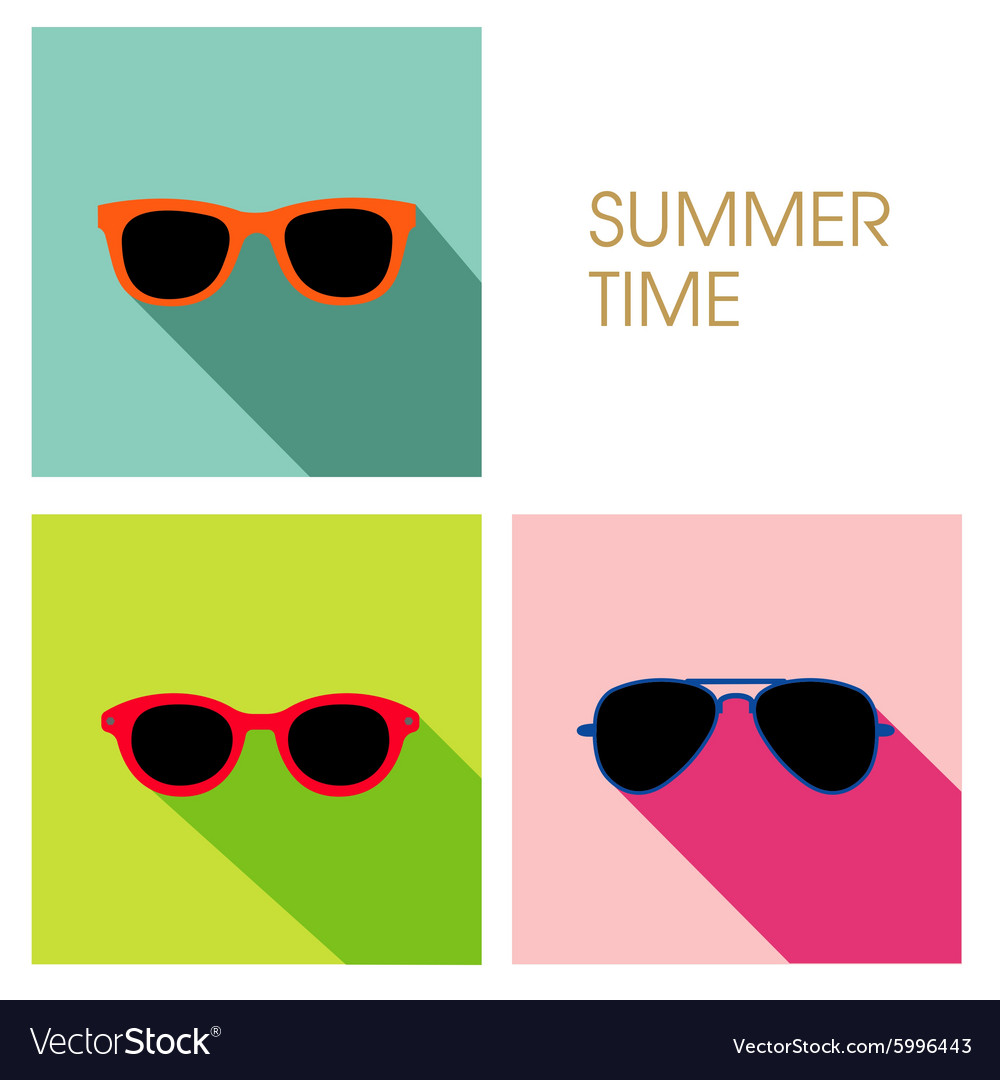 Sunglasses summer set design vector