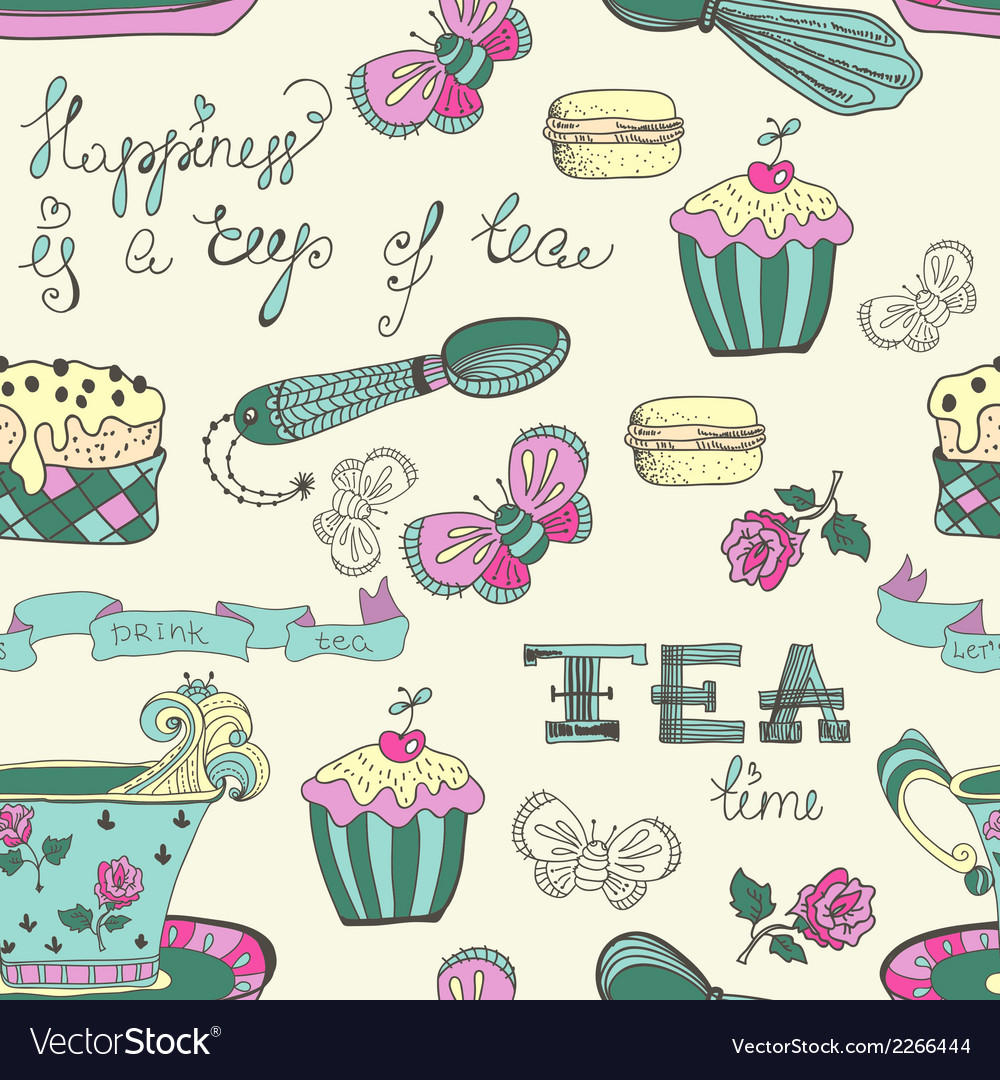 Color tea time pattern vector