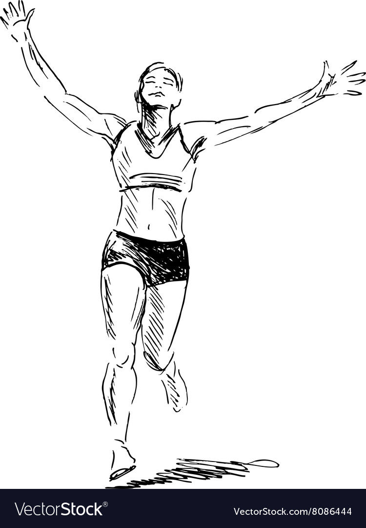 Hand sketch winning runner vector