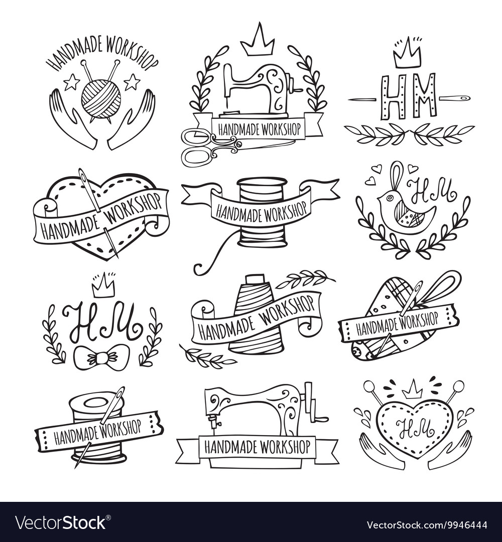 Set of hand drawn logos for sewing workshop vector