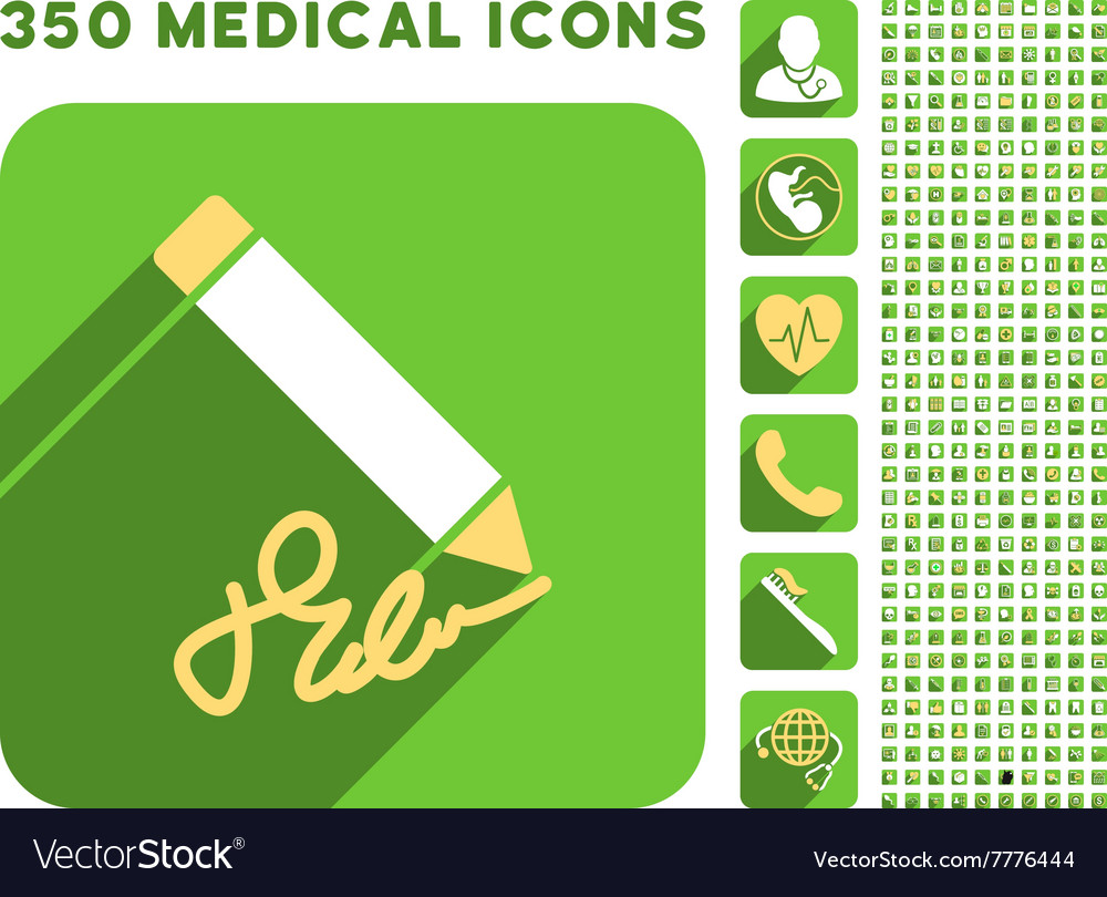 Writing pencil icon and medical longshadow icon vector
