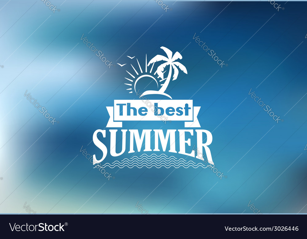 Best summer poster with a tropical beach vector