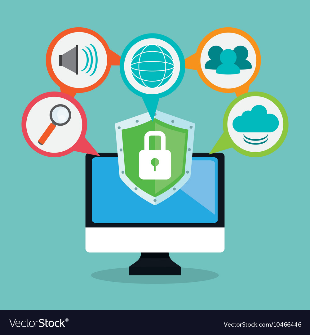 Computer cyber security system design vector